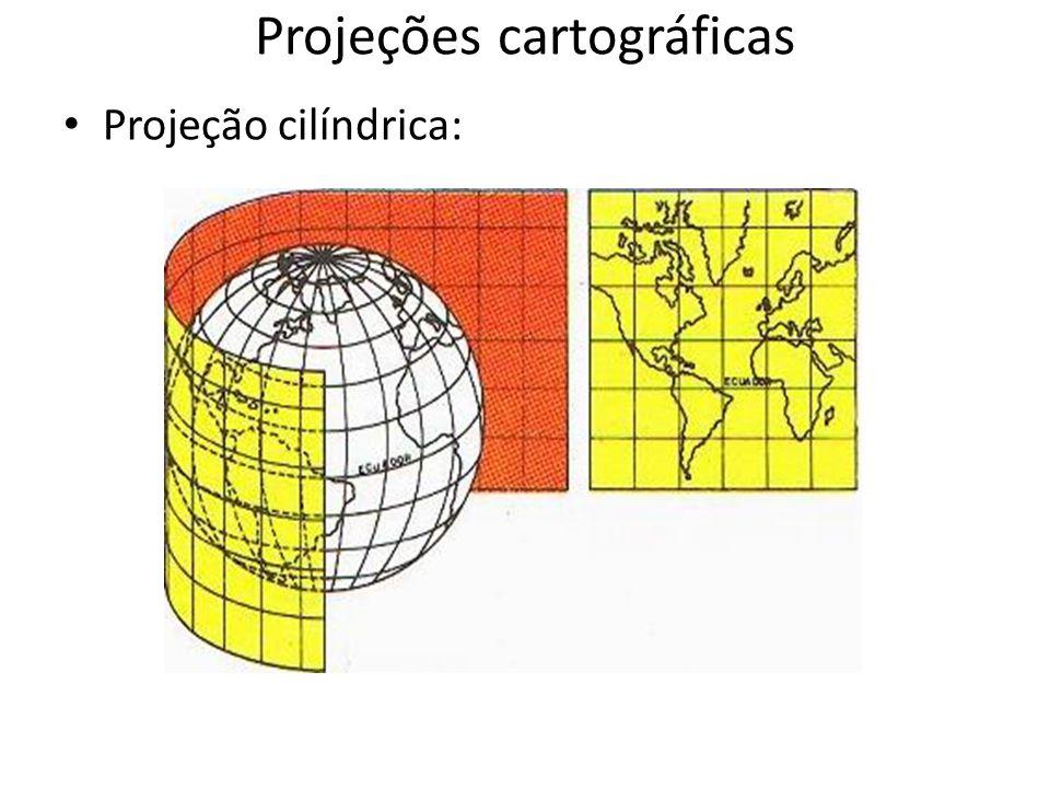 Projeções cartográficas Projeção cilíndrica: