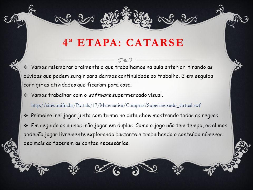 4ª ETAPA: CATARSE  Vamos relembrar oralmente o que trabalhamos na aula anterior, tirando as dúvidas que podem surgir para darmos continuidade ao trab