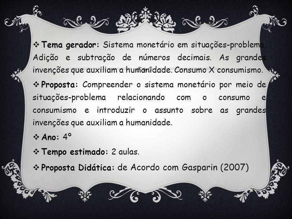  Tema gerador: Sistema monetário em situações-problema, Adição e subtração de números decimais. As grandes invenções que auxiliam a humanidade. Consu
