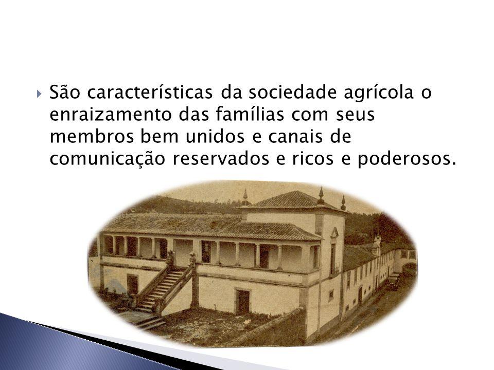  São características da sociedade agrícola o enraizamento das famílias com seus membros bem unidos e canais de comunicação reservados e ricos e poderosos.