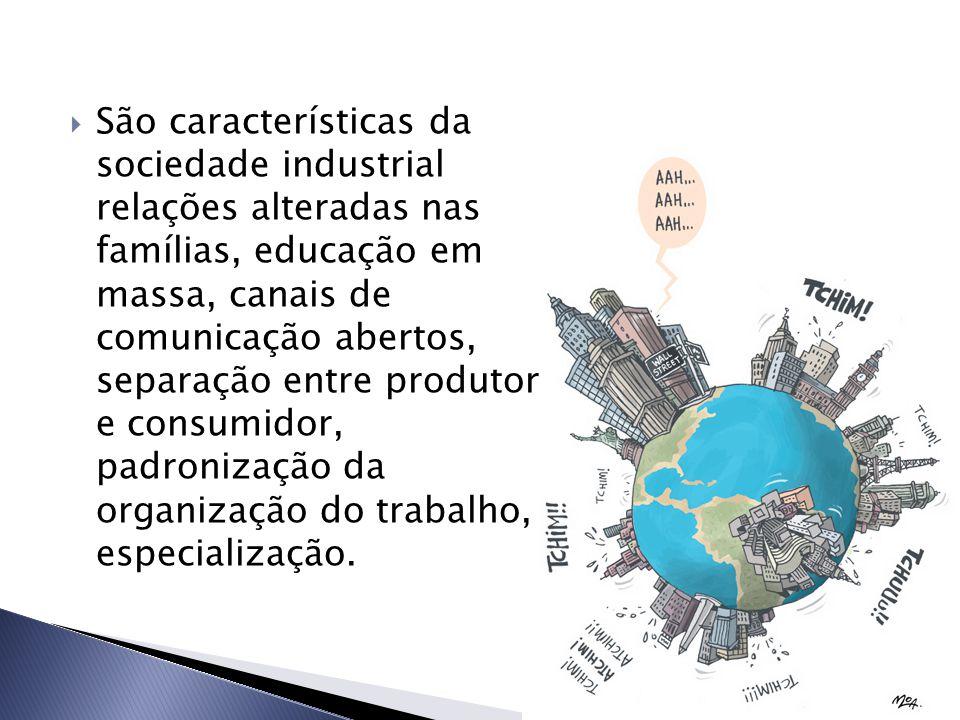  São características da sociedade industrial relações alteradas nas famílias, educação em massa, canais de comunicação abertos, separação entre produtor e consumidor, padronização da organização do trabalho, especialização.