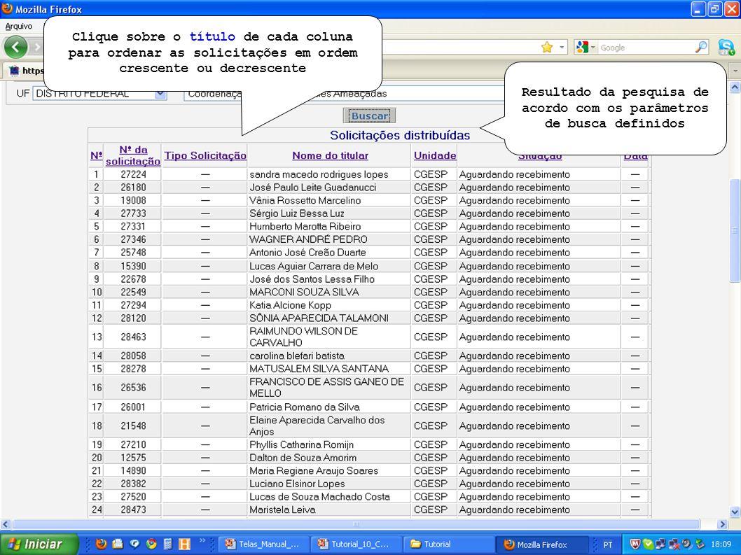 Resultado da pesquisa de acordo com os parâmetros de busca definidos Clique sobre o título de cada coluna para ordenar as solicitações em ordem crescente ou decrescente