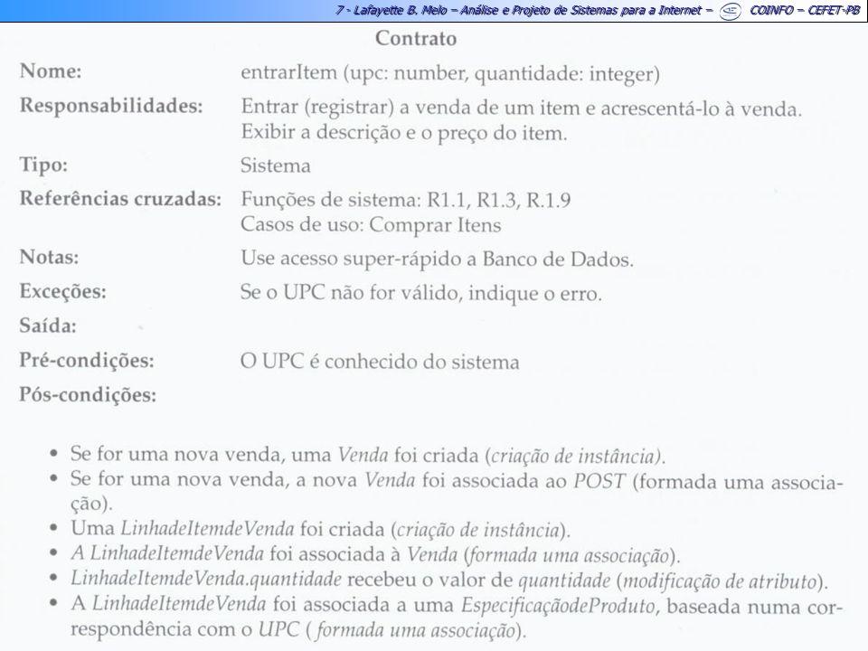 7 - Lafayette B. Melo – Análise e Projeto de Sistemas para a Internet – COINFO – CEFET-PB