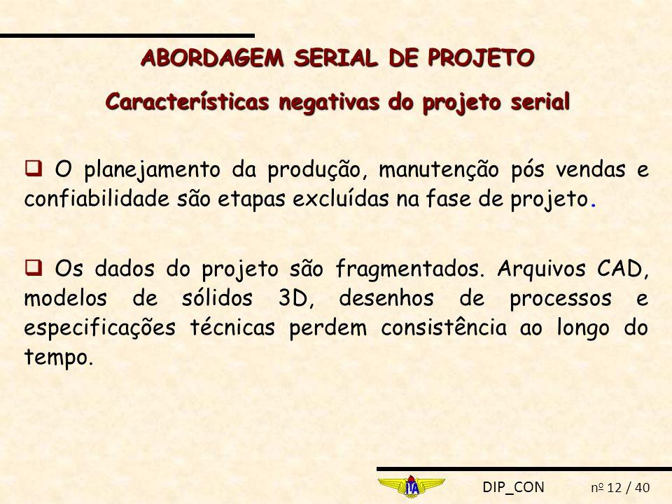 DIP_CON n o 12 / 40  O planejamento da produção, manutenção pós vendas e confiabilidade são etapas excluídas na fase de projeto.  Os dados do projet