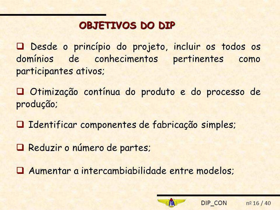 DIP_CON n o 16 / 40  Desde o princípio do projeto, incluir os todos os domínios de conhecimentos pertinentes como participantes ativos;  Otimização