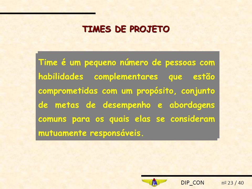 DIP_CON n o 23 / 40 TIMES DE PROJETO Time é um pequeno número de pessoas com habilidades complementares que estão comprometidas com um propósito, conj