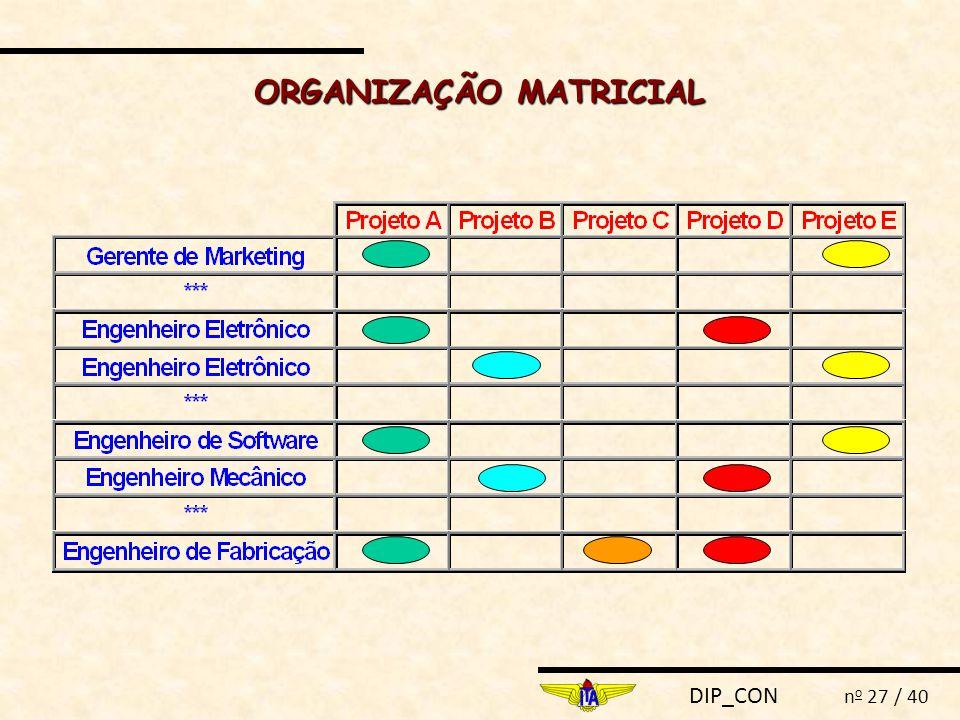 DIP_CON n o 27 / 40 ORGANIZAÇÃO MATRICIAL