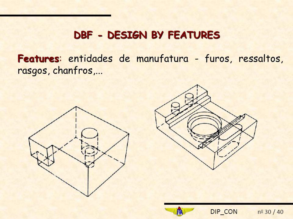 DIP_CON n o 30 / 40 Features Features: entidades de manufatura - furos, ressaltos, rasgos, chanfros,... DBF - DESIGN BY FEATURES