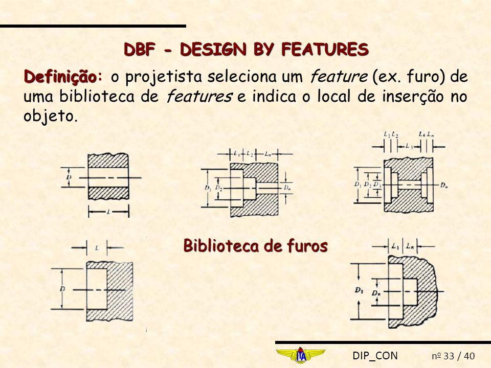 DIP_CON n o 33 / 40 Definição Definição: o projetista seleciona um feature (ex. furo) de uma biblioteca de features e indica o local de inserção no ob