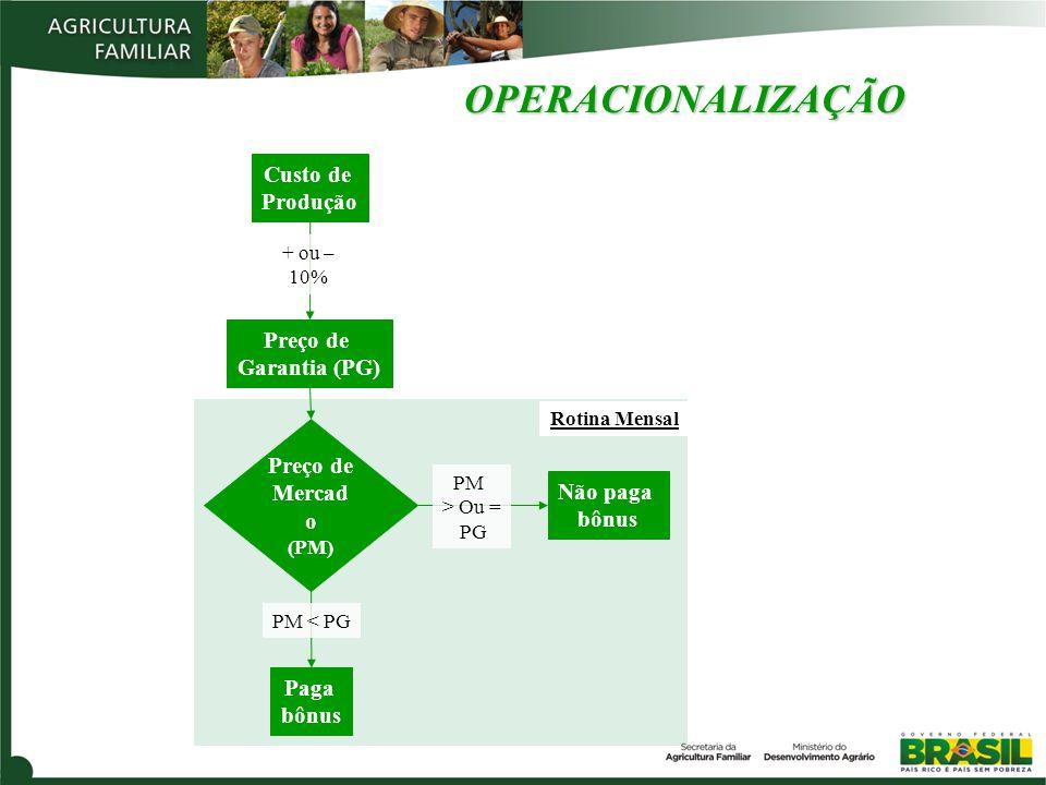 OPERACIONALIZAÇÃO Preço de Garantia (PG) Preço de Mercad o (PM) Paga bônus Não paga bônus PM < PG PM > Ou = PG Custo de Produção + ou – 10% Rotina Mensal