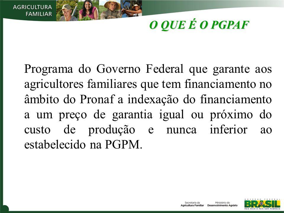 O QUE É O PGPAF Programa do Governo Federal que garante aos agricultores familiares que tem financiamento no âmbito do Pronaf a indexação do financiamento a um preço de garantia igual ou próximo do custo de produção e nunca inferior ao estabelecido na PGPM.