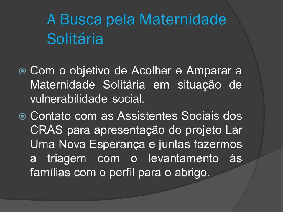 A Busca pela Maternidade Solitária  Com o objetivo de Acolher e Amparar a Maternidade Solitária em situação de vulnerabilidade social.  Contato com