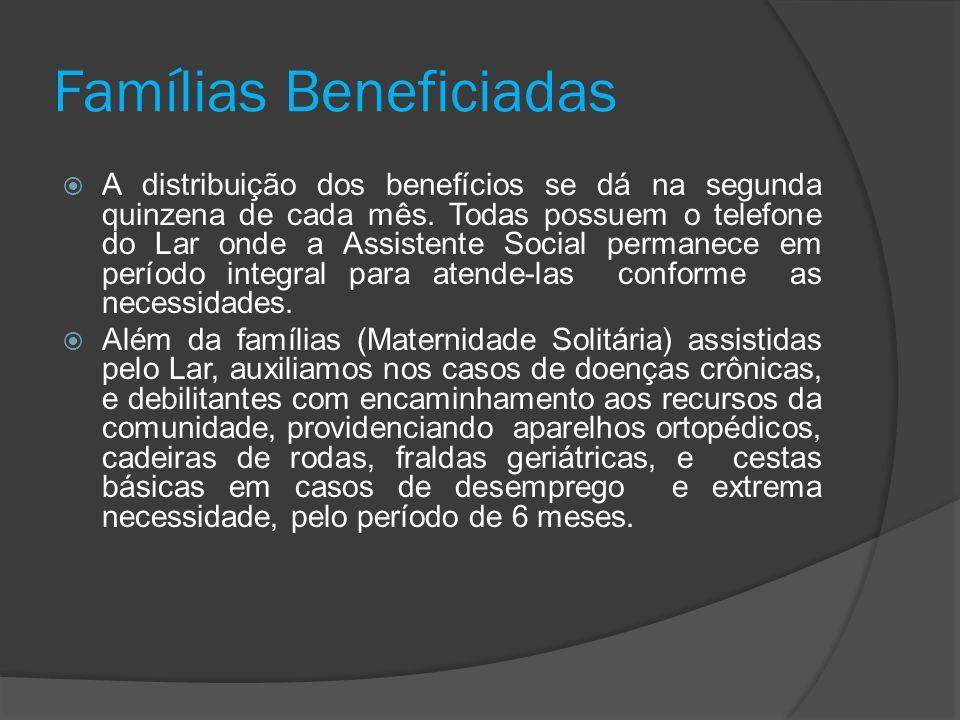 Famílias Beneficiadas  A distribuição dos benefícios se dá na segunda quinzena de cada mês. Todas possuem o telefone do Lar onde a Assistente Social