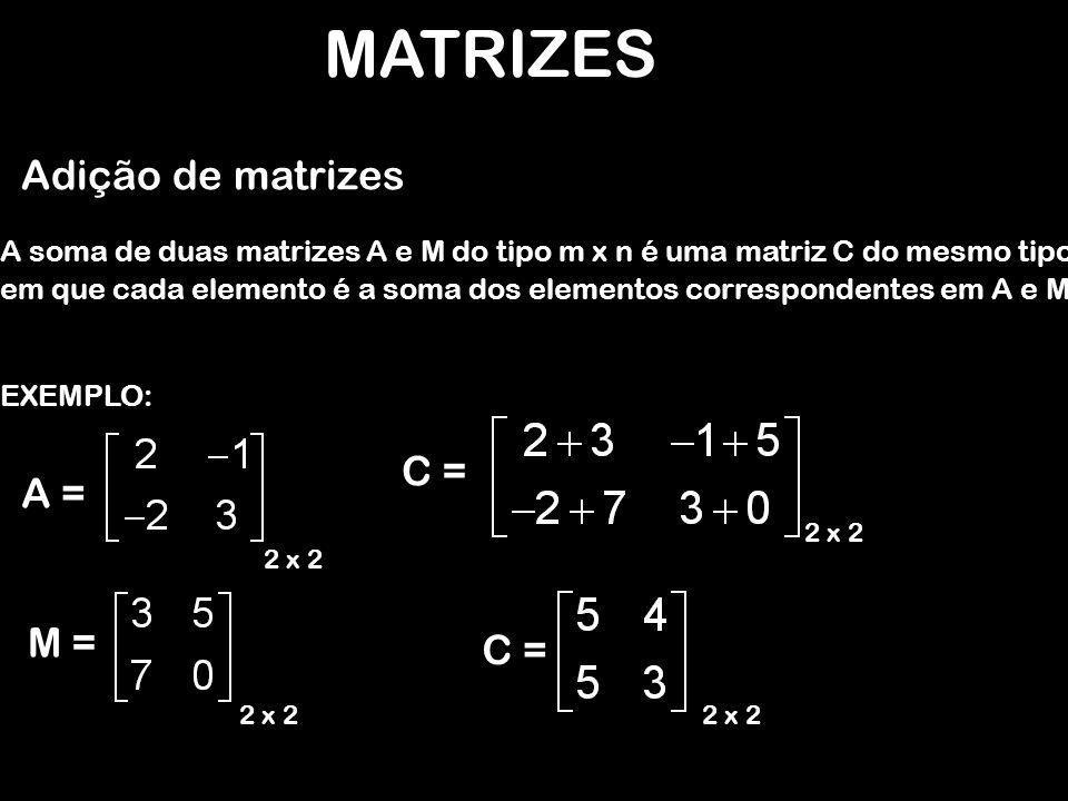 Adição de matrizes EXEMPLO: A soma de duas matrizes A e M do tipo m x n é uma matriz C do mesmo tipo A = 2 x 2 M = 2 x 2 C = 2 x 2 C = 2 x 2 em que cada elemento é a soma dos elementos correspondentes em A e M.