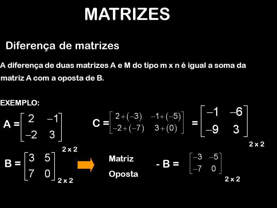 MATRIZES Diferença de matrizes EXEMPLO: A diferença de duas matrizes A e M do tipo m x n é igual a soma da A = 2 x 2 B = 2 x 2 C = 2 x 2 = - B = 2 x 2