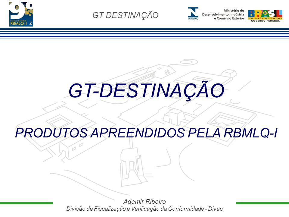 GT-DESTINAÇÃO Ademir Ribeiro Divisão de Fiscalização e Verificação da Conformidade - Divec GT-DESTINAÇÃO PRODUTOS APREENDIDOS PELA RBMLQ-I