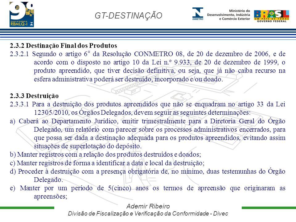 GT-DESTINAÇÃO Ademir Ribeiro Divisão de Fiscalização e Verificação da Conformidade - Divec 2.3.2 Destinação Final dos Produtos 2.3.2.1 Segundo o artig