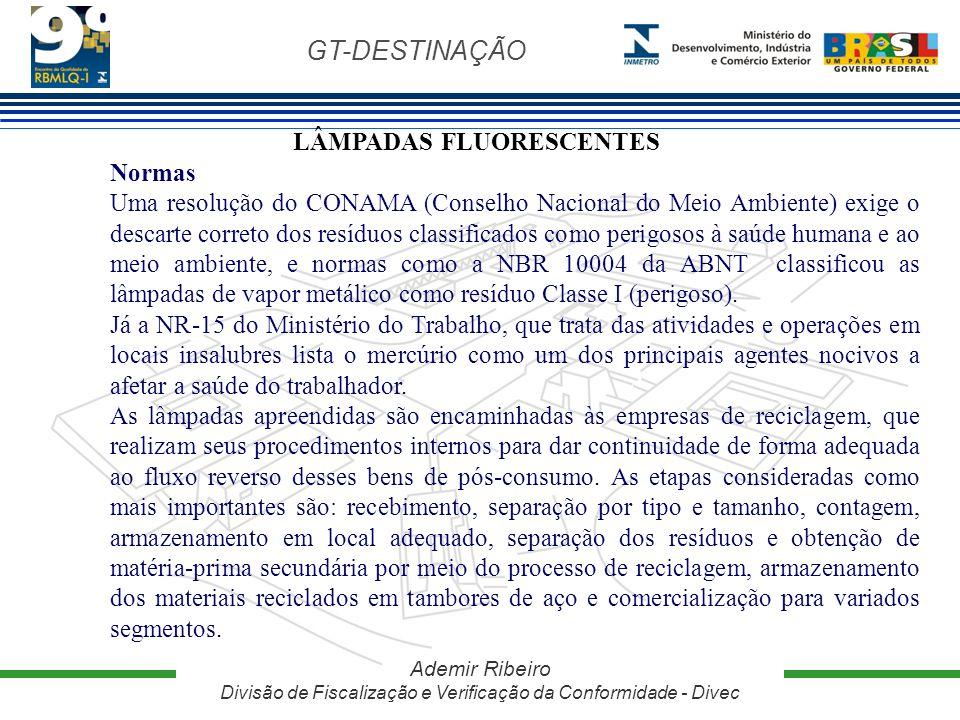GT-DESTINAÇÃO Ademir Ribeiro Divisão de Fiscalização e Verificação da Conformidade - Divec LÂMPADAS FLUORESCENTES Normas Uma resolução do CONAMA (Cons
