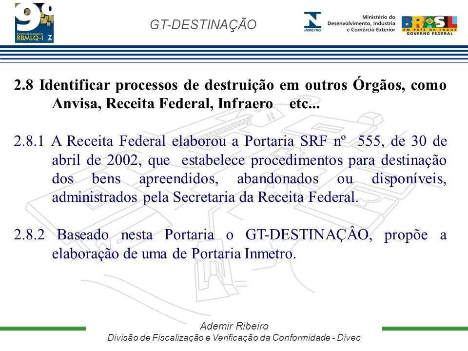 GT-DESTINAÇÃO Ademir Ribeiro Divisão de Fiscalização e Verificação da Conformidade - Divec 2.8 Identificar processos de destruição em outros Órgãos, c