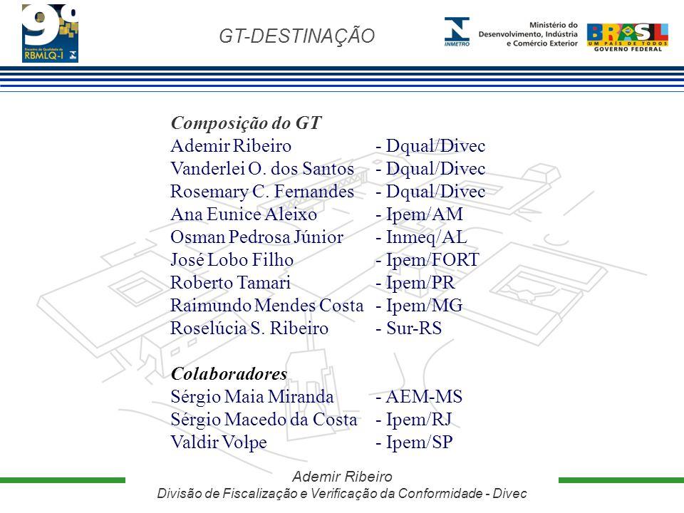 GT-DESTINAÇÃO Ademir Ribeiro Divisão de Fiscalização e Verificação da Conformidade - Divec Composição do GT Ademir Ribeiro - Dqual/Divec Vanderlei O.