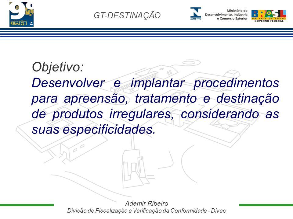 GT-DESTINAÇÃO Ademir Ribeiro Divisão de Fiscalização e Verificação da Conformidade - Divec Objetivo: Desenvolver e implantar procedimentos para apreen