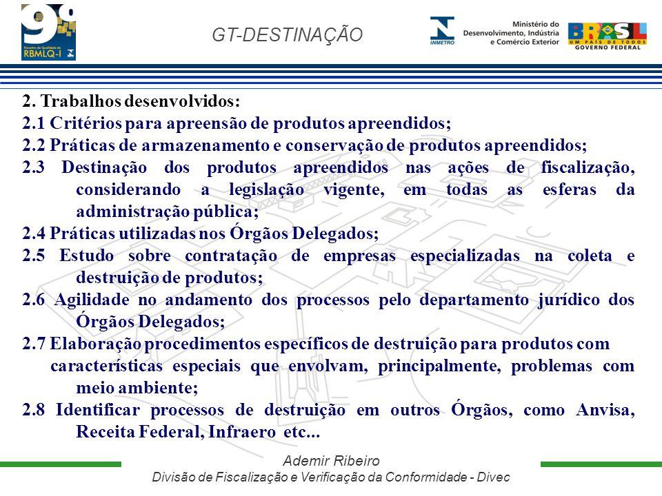 GT-DESTINAÇÃO Ademir Ribeiro Divisão de Fiscalização e Verificação da Conformidade - Divec 2. Trabalhos desenvolvidos: 2.1 Critérios para apreensão de