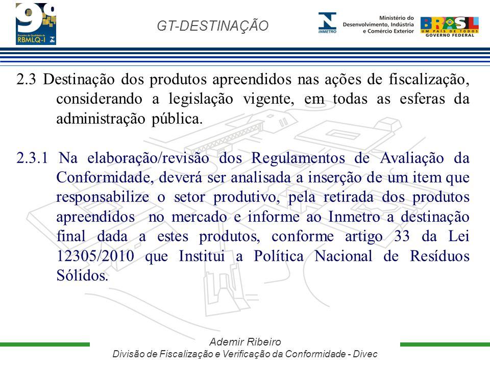 GT-DESTINAÇÃO Ademir Ribeiro Divisão de Fiscalização e Verificação da Conformidade - Divec 2.3 Destinação dos produtos apreendidos nas ações de fiscal