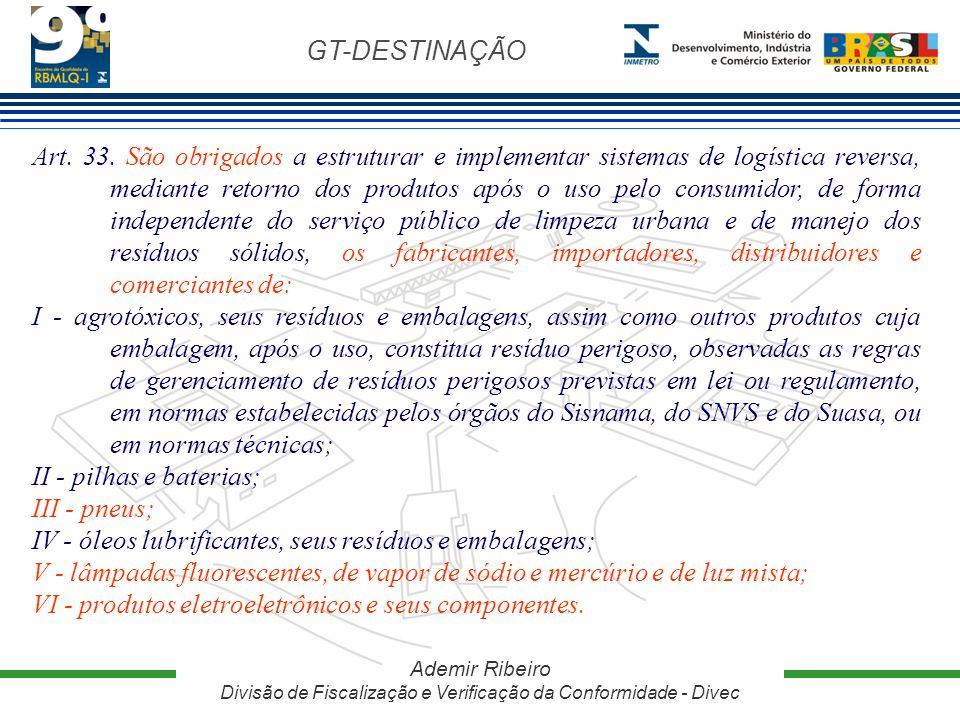 GT-DESTINAÇÃO Ademir Ribeiro Divisão de Fiscalização e Verificação da Conformidade - Divec Art. 33. São obrigados a estruturar e implementar sistemas