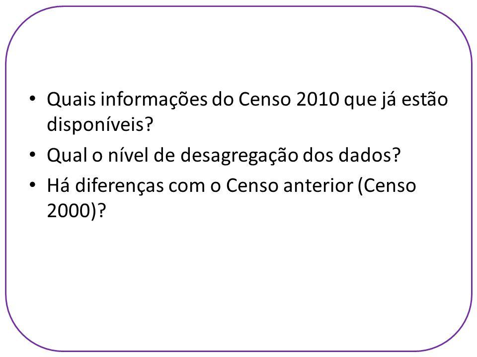Quais informações do Censo 2010 que já estão disponíveis? Qual o nível de desagregação dos dados? Há diferenças com o Censo anterior (Censo 2000)?