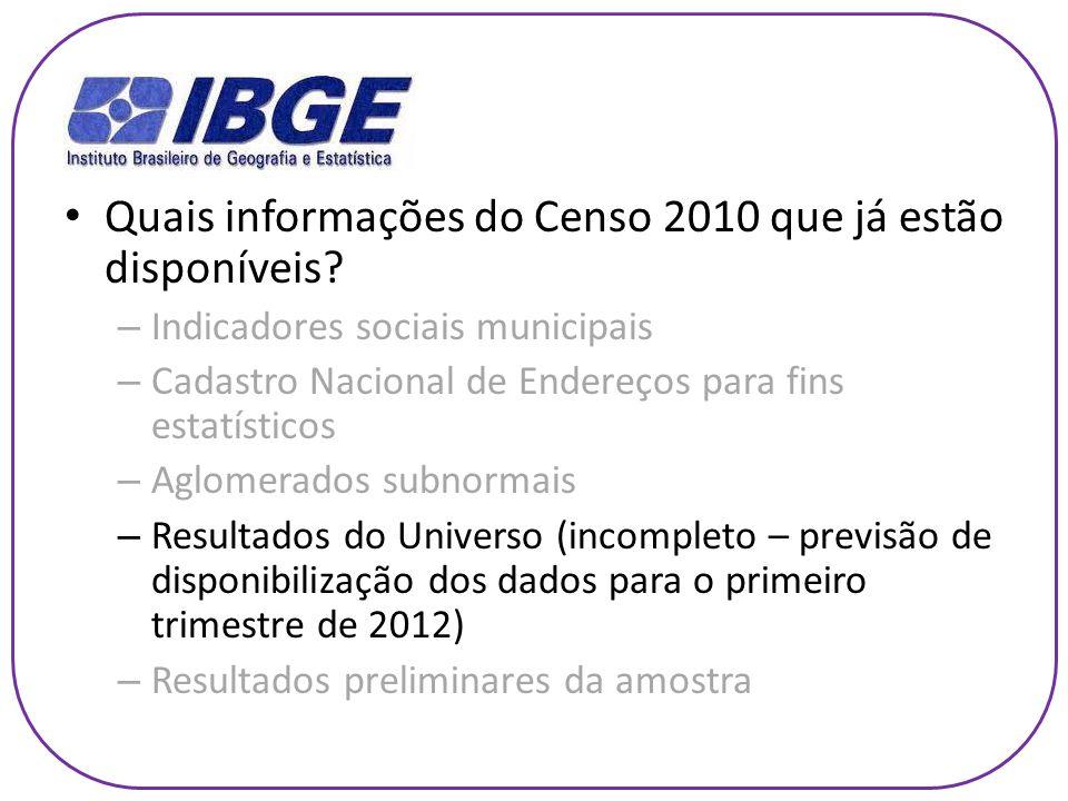 Quais informações do Censo 2010 que já estão disponíveis? – Indicadores sociais municipais – Cadastro Nacional de Endereços para fins estatísticos – A