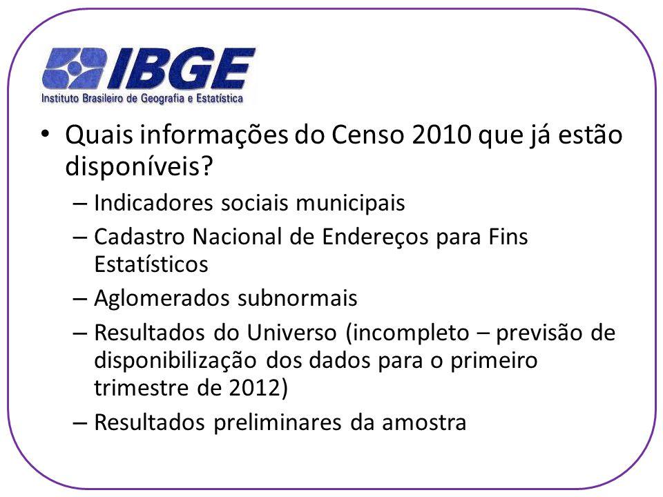 Quais informações do Censo 2010 que já estão disponíveis.