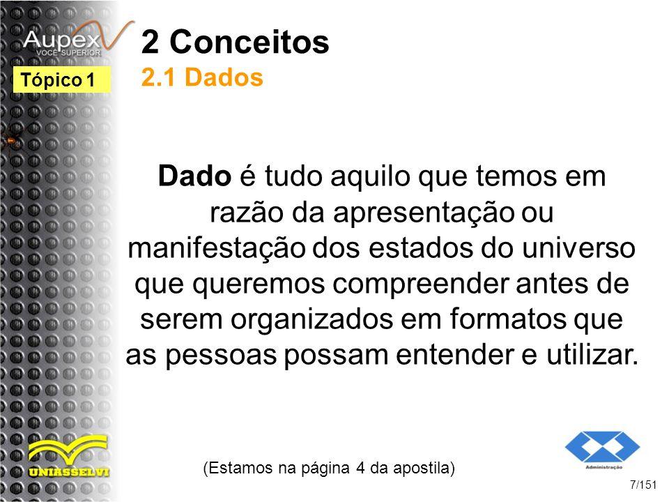 2 Conceitos 2.1 Dados Dado é tudo aquilo que temos em razão da apresentação ou manifestação dos estados do universo que queremos compreender antes de