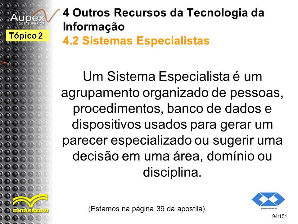 4 Outros Recursos da Tecnologia da Informação 4.2 Sistemas Especialistas Um Sistema Especialista é um agrupamento organizado de pessoas, procedimentos