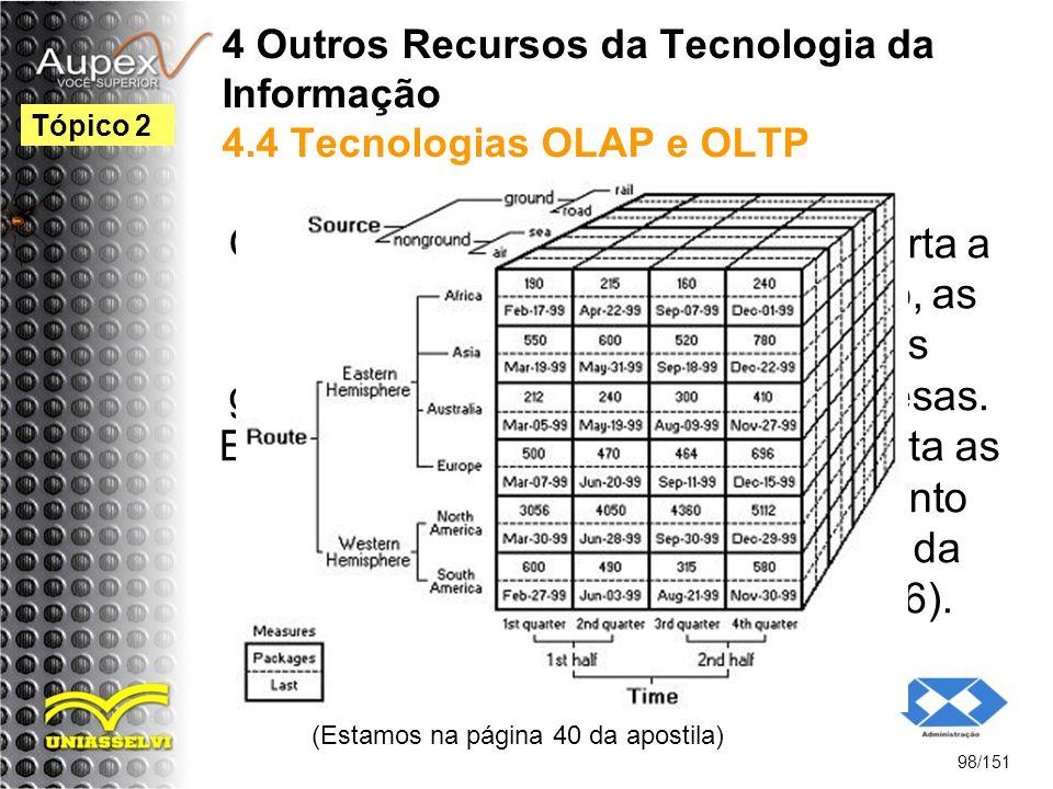 4 Outros Recursos da Tecnologia da Informação 4.4 Tecnologias OLAP e OLTP O recurso da tecnologia OLAP suporta a análise das tendências de mercado, as