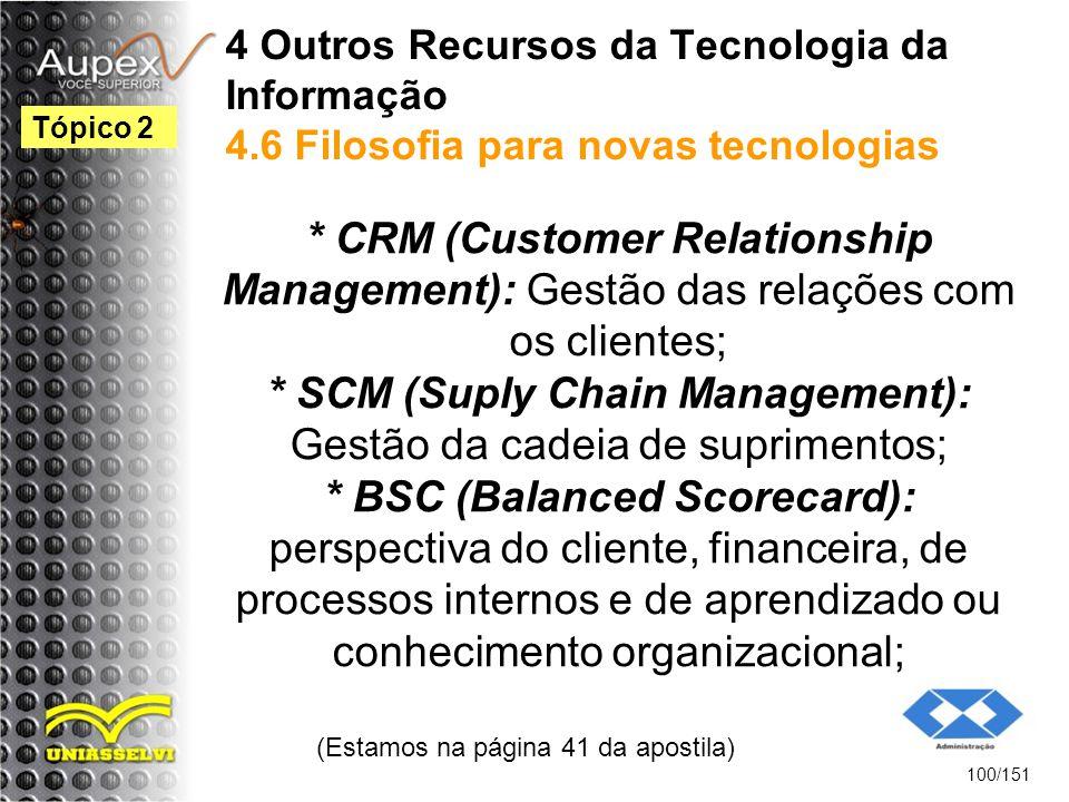 4 Outros Recursos da Tecnologia da Informação 4.6 Filosofia para novas tecnologias * CRM (Customer Relationship Management): Gestão das relações com o