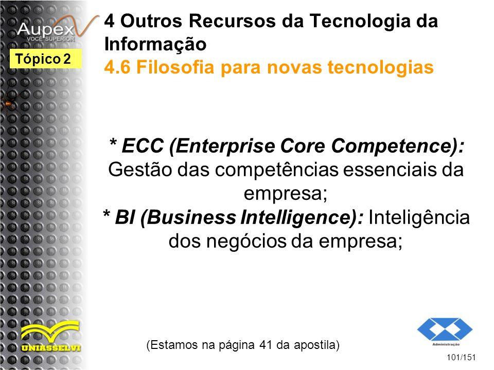4 Outros Recursos da Tecnologia da Informação 4.6 Filosofia para novas tecnologias * ECC (Enterprise Core Competence): Gestão das competências essenci
