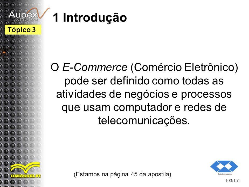 1 Introdução O E-Commerce (Comércio Eletrônico) pode ser definido como todas as atividades de negócios e processos que usam computador e redes de tele