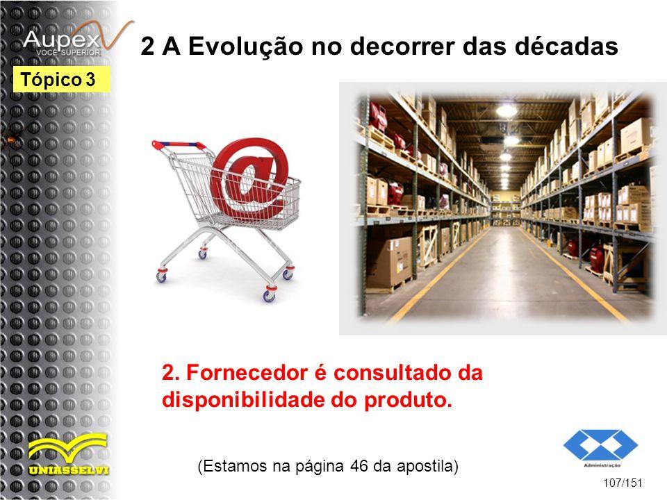 2 A Evolução no decorrer das décadas (Estamos na página 46 da apostila) 107/151 Tópico 3 2. Fornecedor é consultado da disponibilidade do produto.
