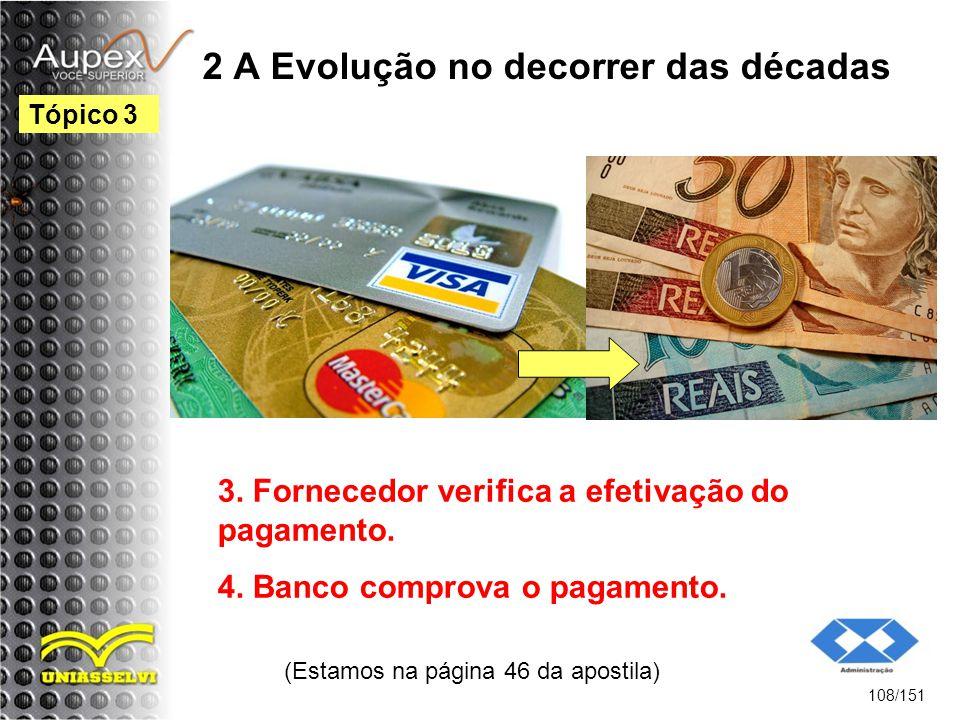 2 A Evolução no decorrer das décadas (Estamos na página 46 da apostila) 108/151 Tópico 3 3. Fornecedor verifica a efetivação do pagamento. 4. Banco co