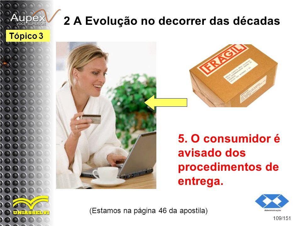 2 A Evolução no decorrer das décadas (Estamos na página 46 da apostila) 109/151 Tópico 3 5. O consumidor é avisado dos procedimentos de entrega.