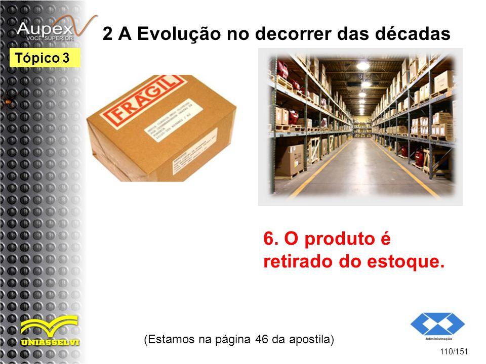 2 A Evolução no decorrer das décadas (Estamos na página 46 da apostila) 110/151 Tópico 3 6. O produto é retirado do estoque.