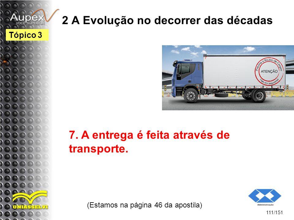 2 A Evolução no decorrer das décadas (Estamos na página 46 da apostila) 111/151 Tópico 3 7. A entrega é feita através de transporte.