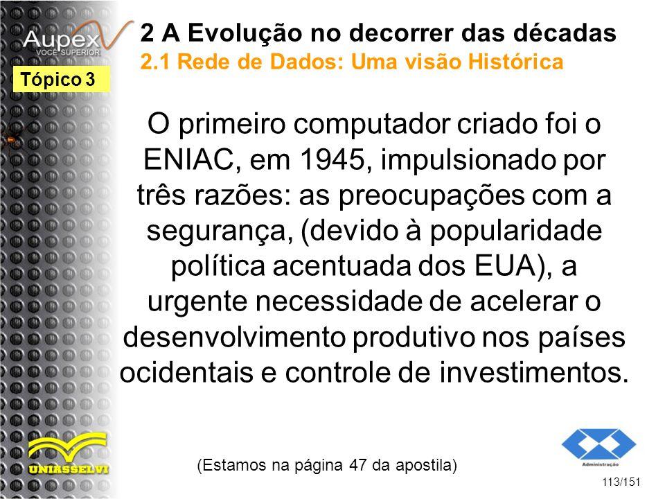 2 A Evolução no decorrer das décadas 2.1 Rede de Dados: Uma visão Histórica O primeiro computador criado foi o ENIAC, em 1945, impulsionado por três r