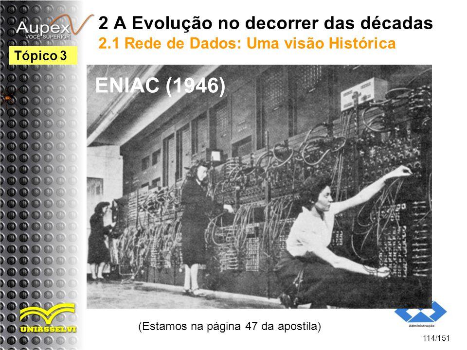 2 A Evolução no decorrer das décadas 2.1 Rede de Dados: Uma visão Histórica (Estamos na página 47 da apostila) 114/151 Tópico 3 ENIAC (1946)