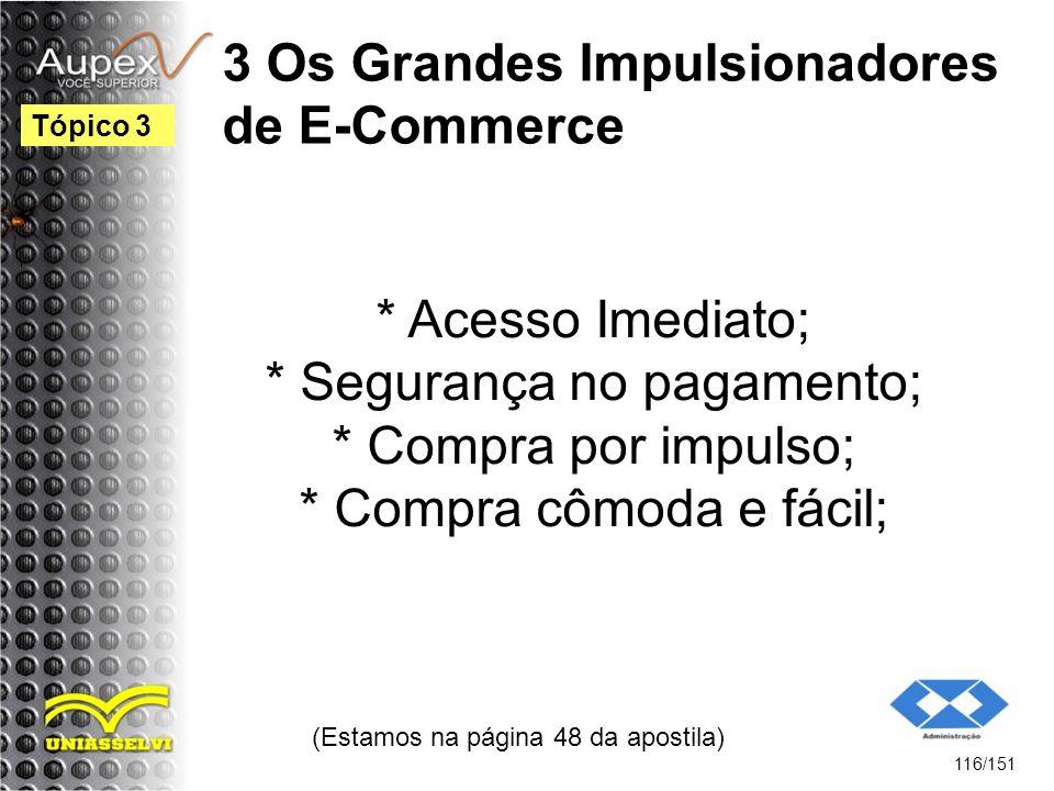 3 Os Grandes Impulsionadores de E-Commerce * Acesso Imediato; * Segurança no pagamento; * Compra por impulso; * Compra cômoda e fácil; (Estamos na pág