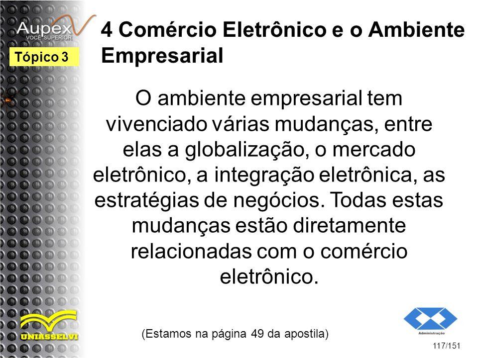 4 Comércio Eletrônico e o Ambiente Empresarial O ambiente empresarial tem vivenciado várias mudanças, entre elas a globalização, o mercado eletrônico,