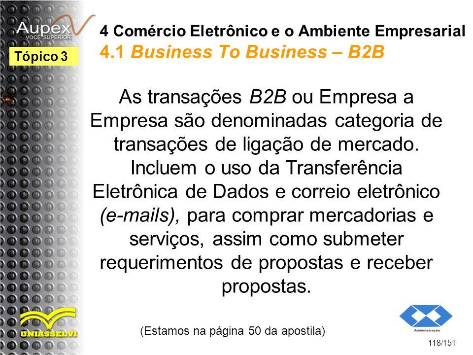 4 Comércio Eletrônico e o Ambiente Empresarial 4.1 Business To Business – B2B As transações B2B ou Empresa a Empresa são denominadas categoria de tran