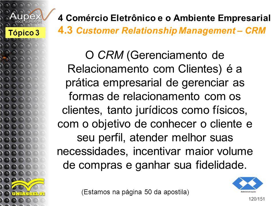 4 Comércio Eletrônico e o Ambiente Empresarial 4.3 Customer Relationship Management – CRM O CRM (Gerenciamento de Relacionamento com Clientes) é a prá