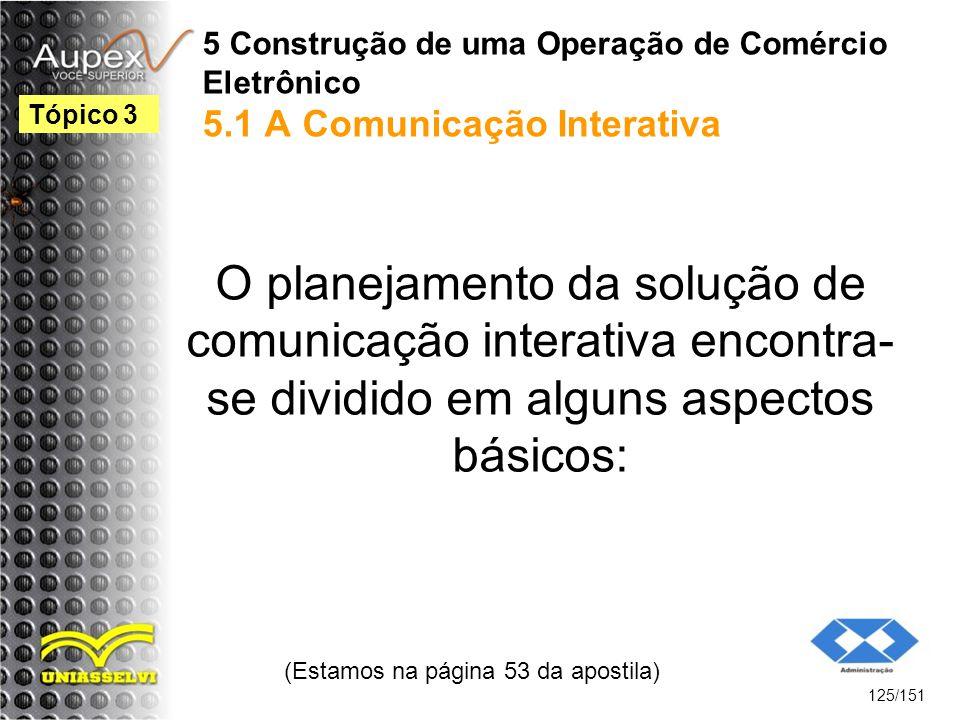 5 Construção de uma Operação de Comércio Eletrônico 5.1 A Comunicação Interativa O planejamento da solução de comunicação interativa encontra- se divi