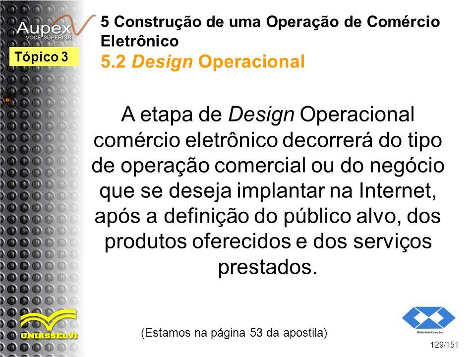 5 Construção de uma Operação de Comércio Eletrônico 5.2 Design Operacional A etapa de Design Operacional comércio eletrônico decorrerá do tipo de oper